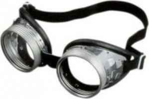 Schraubringbrille Stroofbrille Schleifbrille mit klaren Gläsern 50mm aus Sicherheitsglas